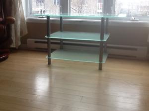 Table télé en verre et métal Chrome à trois niveaux