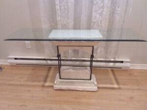 Table console avec base en travertin