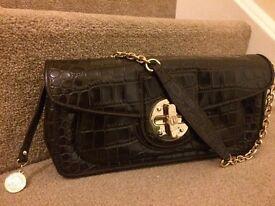 DKNY leather Flap Over Shoulder Bag - Dark Brown £25ONO
