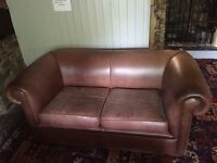 Tan 2 seater & 3 seater leather sofas