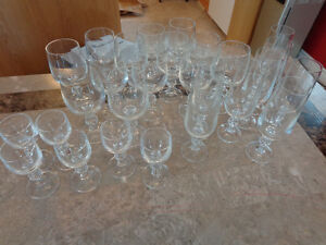 Wine, champagne, shooter glasses for sale