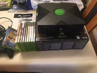 Boxed x box with games and controller