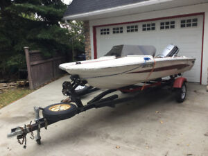Vintage Glastron with 50hp Evinrude Motor and Boat Trailer