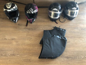 Four helmets and two pairs of hand muffs for sale - $30. each