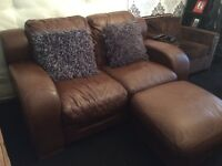 Leather sofa & Pouffe