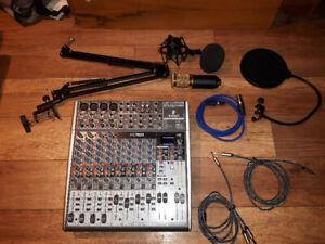 kit de table mixage avec micro et fil