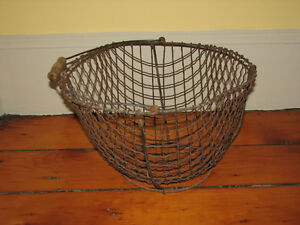 Antique XLarge Metal Wire Farmhouse Basket, Oak Wood Handle OLD