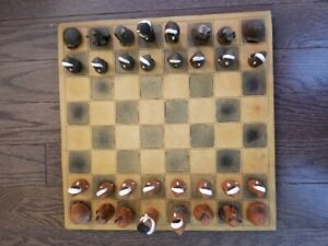 Vintage Leather Chess Board w/ Canadian Inuit Clay Pieces