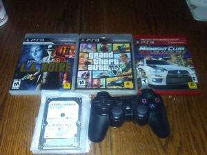 Ps3 games-3 , one wireless controller, 500 gig hard drive.