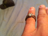 White Gold & Diamond Engagement Ring and Wedding Band