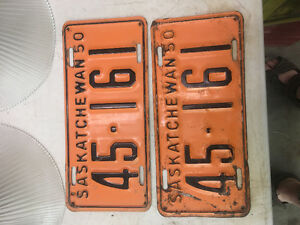 1950 Sask License Plates Matched Set
