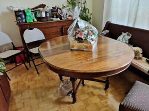Antique sideboard and dining table with 5 chairs