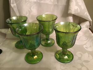 1960's Carnival Glass Green Grape & Vine Goblets Set of 4