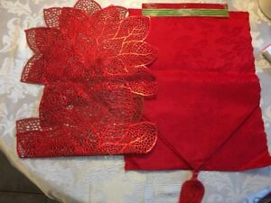 Two red Xmas table runners