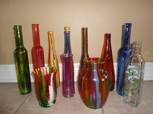 Lot of 11 assorted handpainted glass bottle vase decor accent