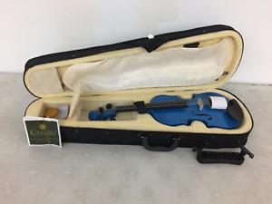 Mendini 1/4 MV-Blue Solid Wood Violin with Hard Case, Shoulder R