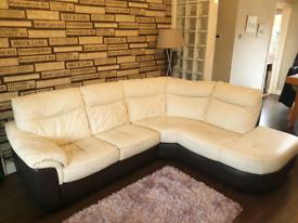 Cream & Brown Leather corner sofa