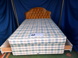 Double divan base with mattress, two drawers and head board (free 🚚)