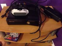 Xbox 360 with kinect, games & controlled