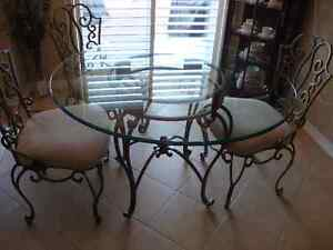 """Bombay 48"""" Wrought Iron Table, 1/2 Beveled Glass, * 6*  Chairs"""