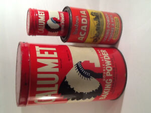 Calumet 5 lb, & 4 oz. and Barbour Acadia 450g Baking Powder Tins