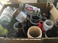 Box of decorated bottles and jars