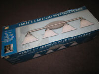 4 Bulb Wall Mount Light Fixture - pewter finish - like new, open