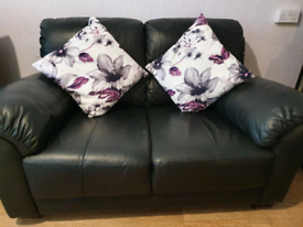 Small black leather 2 seater sofa settee and single chair