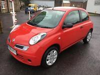 0909 Nissan Micra 1.5dCi 86 Visia Red 3 Door MOT 12m £30 Road Tax
