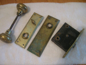 CLASSY OLD VINTAGE BRASS DOOR LOCK SET..with BRASS PLATES