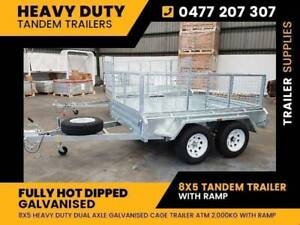 New: 8X5 Tandem Galvanised Trailer with 600MM Cage