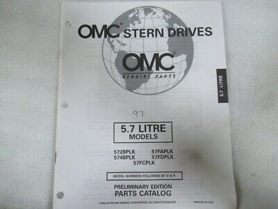1997 OMC Stern Drives 5.7L Models Prelim Edition Parts Catalog Manual P/N 988225