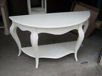 White Crescent Table w/ French Style Legs
