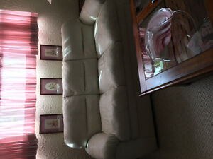 Pristine White Leather Couch and Loveseat