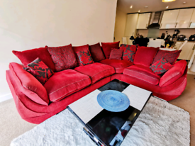 RED DFS FABRIC CORNER SOFA WITH FOAM SEAT CUSHIONS