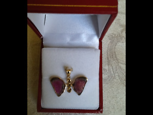 Unique Diamond & Tourmaline Butterfly Pendant in 14 Kt Gold