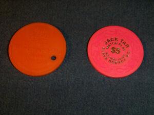 2 VINTAGE CASINO CHIPS-JACK TAR/PLAYA DORADA & WESTWARD HO!