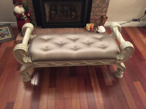 Brand New Ashley Signature Carved Ornate Upholstered Bench.