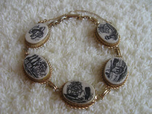UNIQUE OLD VINTAGE GOLDTONE LOVE of the SEAS LADYS BRACELET