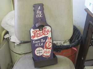 DECORATIVE PEPSI COLA 5c BOTTLE OPENER CAP CATCHER SIGN $40.00