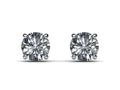 Used, 1/2 Carat D VS1 Round Cut Real Natural Diamond Stud Earrings 14k White Gold for sale  Shipping to Canada
