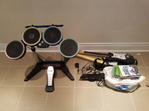 XBOX 360 games, Kinect and Rock Band drums, mic + 2 guitars
