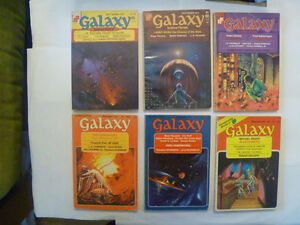 pile of 11 GALAXY sci-fi magazines from 1969 - 1977