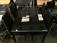 BRAND NEW||LUXURY GLASS DINNING TABLE SET WITH 4 LEATHER CUSHIONED CHAIRS-SALE NOW ON
