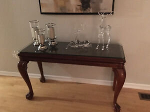 Broyhill Solid Wood coffee table, one end table and a sofa table