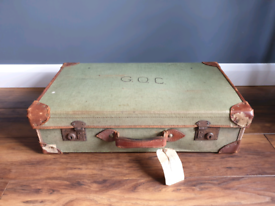 Vintage leather and canvas suitcase