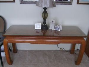 Sofa table with glass on top of wood top now only $375 about 18