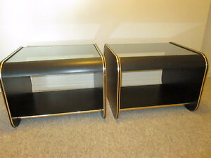 Glass Black/brass End Tables (SOLD) London Ontario image 3