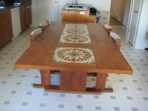 Teak table and buffet