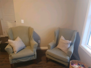 Wingback arm chairs. New slip covers sage green